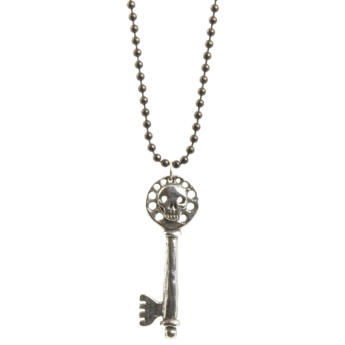 Simple-Antique Pewter Skull Key Ball Chain Necklace-30 Inches