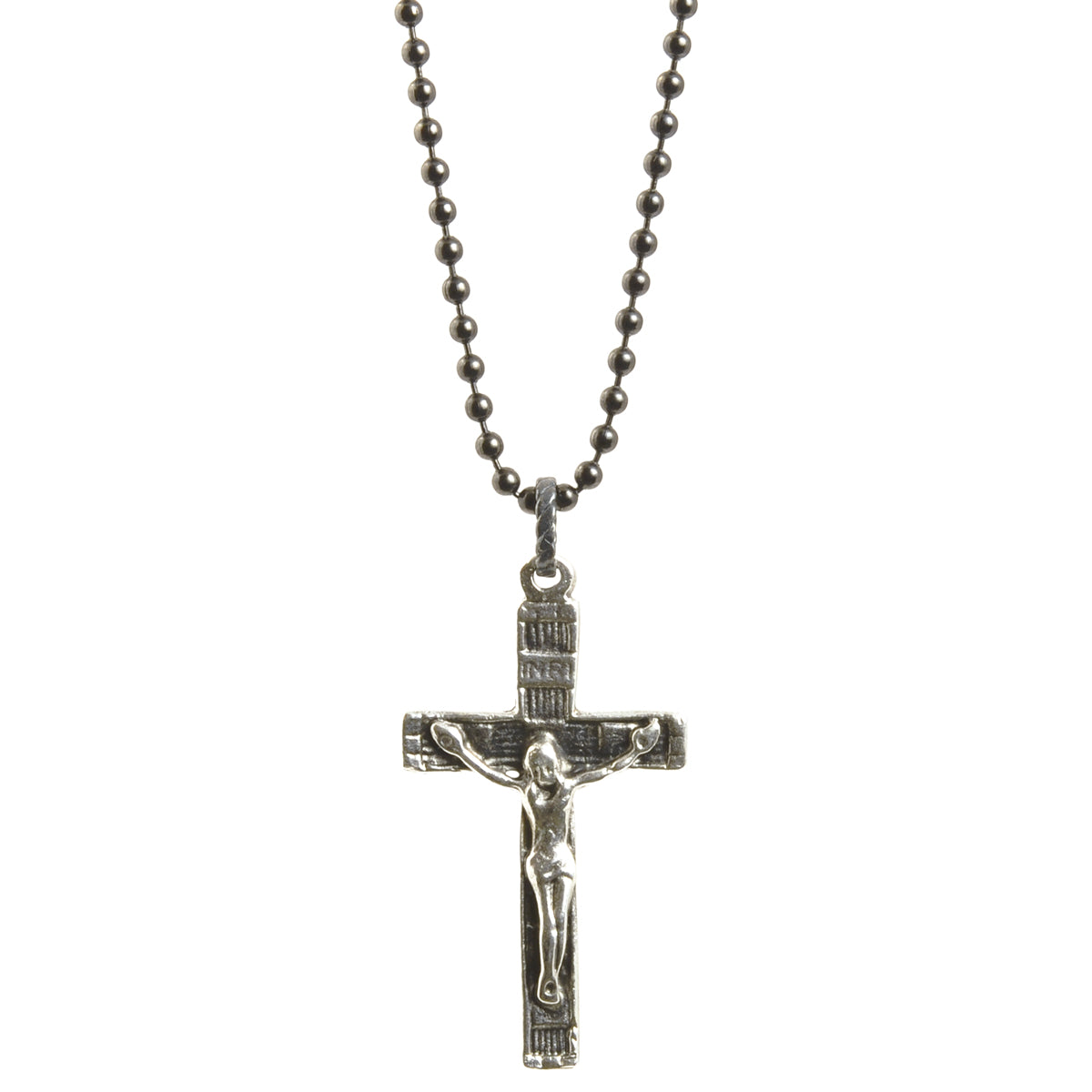 Simple-Catholic Crucifix Cross-Antique Silver-Black Oxide Ball Chain Necklace-30 Inches