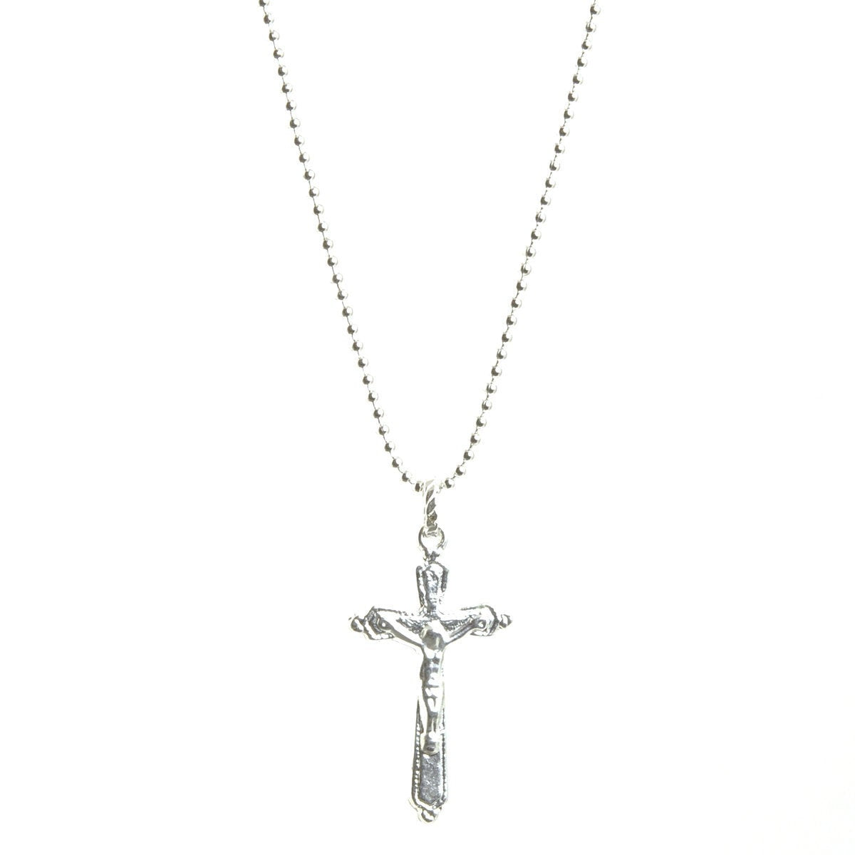 Simple Jewelry-Silver Catholic Crucifix Cross Ball Chain Necklace