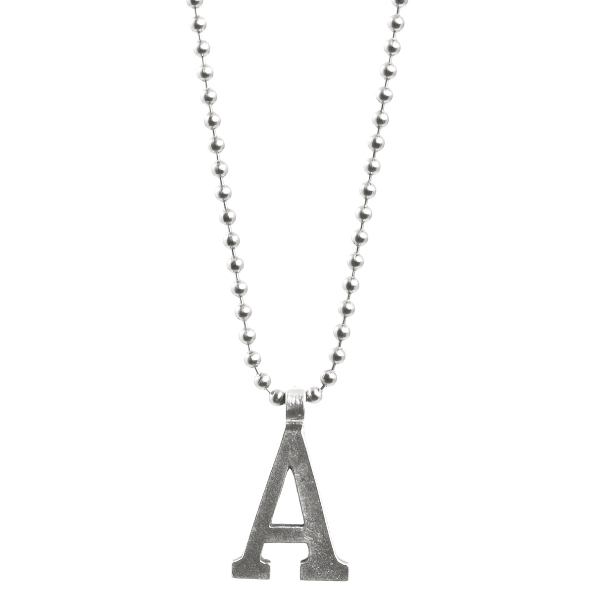 Simple-Letter A-Antique Silver Ball Chain Necklace-30 Inches Camilla Blue