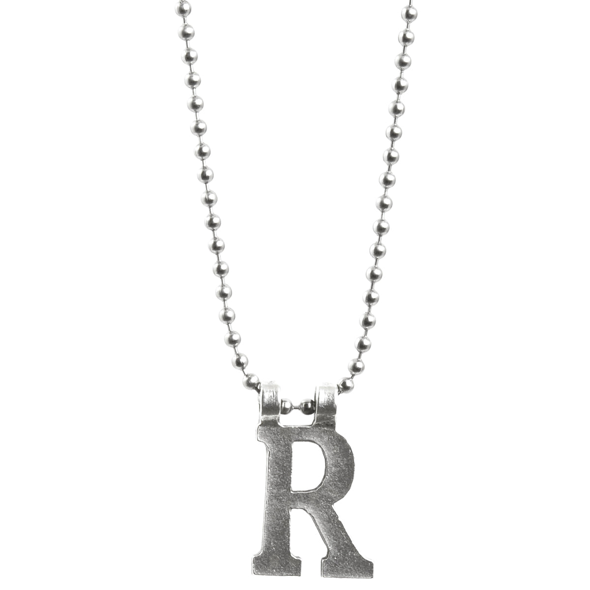 Simple-Letter R-Antique Silver Ball Chain Necklace-30 Inches Camilla Blue
