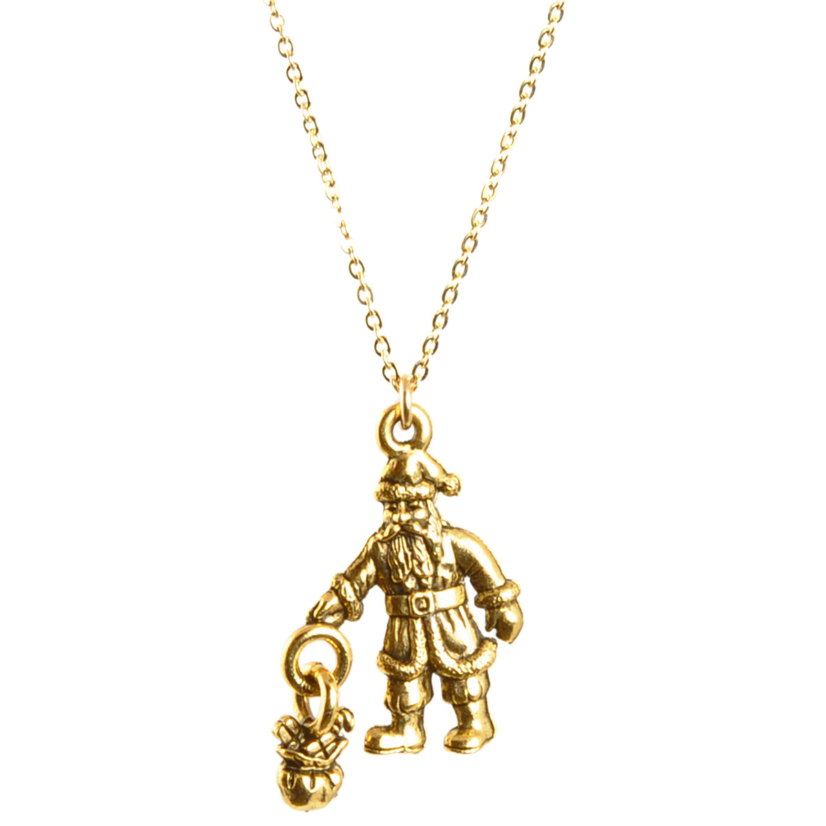 Simple-Santa Pendant Necklace-Antique Gold-16 Inches