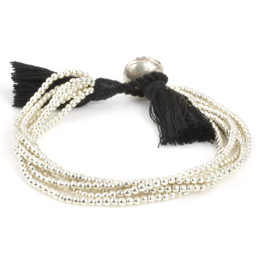 Tiny Silver Beaded Bracelet with Tassel-Six Strand-Black and Silver-Medium