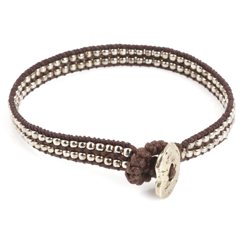 Wrap Bracelet-Silver Double Row-Chocolate Brown