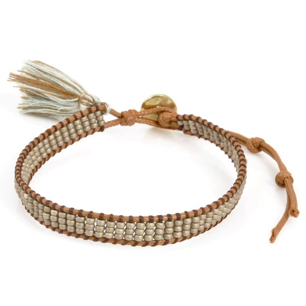 Wrap Bracelet with Tassel-Gold-Triple Row-Grey and Tan-Adjustable