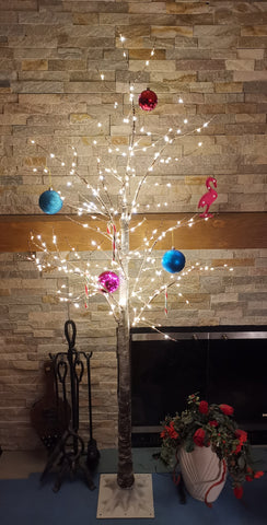 66'' Pre-Lit Frosted Birch Tree 300 LED Lights BROWN