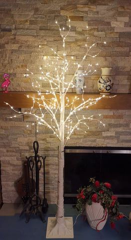 66'' Pre-Lit Frosted Birch Tree 300 LED Lights WHITE