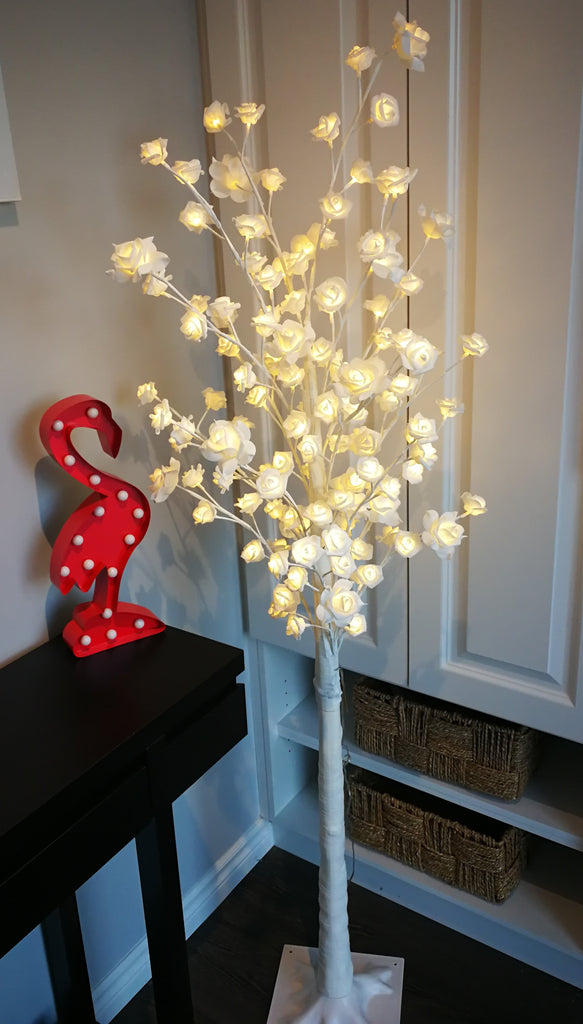 Lighted white rose tree  L - IDEC Sense