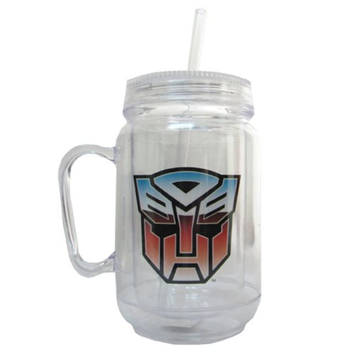 TRANSFORMERS ACRYLIC 18 oz. MASON JAR WITH HANDLE