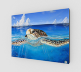 """Peace of the Tropics"" Fine Art Canvas Print, Tropical Sea Turtle Art by Artist © Christie Marie"