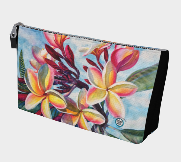 """La a Kea O Kekaha"" Fine Art Makeup Bag, Hawaiian Plumeria Flower by artist © Christie Marie"