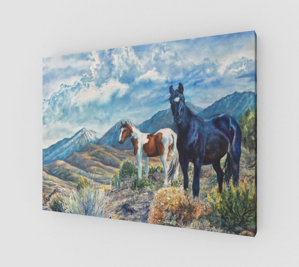 """Mustangs Wild"" Fine Art Canvas Print, Wild Mustangs in the Sierra Nevada Mountain Range watercolor art by artist © Christie Marie"