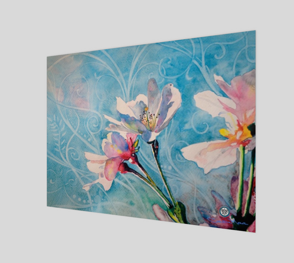 """Spring Air"" Fine Art Poster Print, Pink Cherry Blossoms in Blue flowing stylized sky art by artist © Christie Marie"