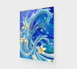"""Blue Hawaii"" Fine Art Acrylic Print, Tattoo Style Waves with Tropical Plumeria Flowers by artist © Christie Marie"