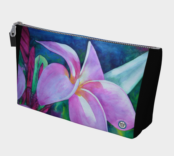 """Blooming"" Makeup Bag, Mini Purse, Pink Plumeria, Frangipani Art by artist © Christie Marie"