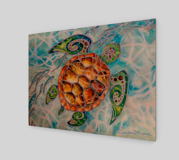 """Honu Island Waters"" Fine Art Wood Print, Tribal Style Sea Turtle with fish and turquoise water, art by artist Christie Marie ©"