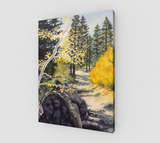 """Tahoe Trail"" Fine Art Canvas Print, Lake Tahoe Fall leaves and Mountain Trail Art by Artist Christie Marie Elder-Russell ©"