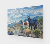 """Mustangs Wild"" Fine Art Acrylic Print, Wild Mustangs in the Sierra Nevada Mountain Range watercolor art by artist © Christie Marie"