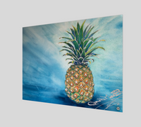 """Welcome"" Fine Art Poster Print, Tropical Pineapple art by artist © Christie Marie"