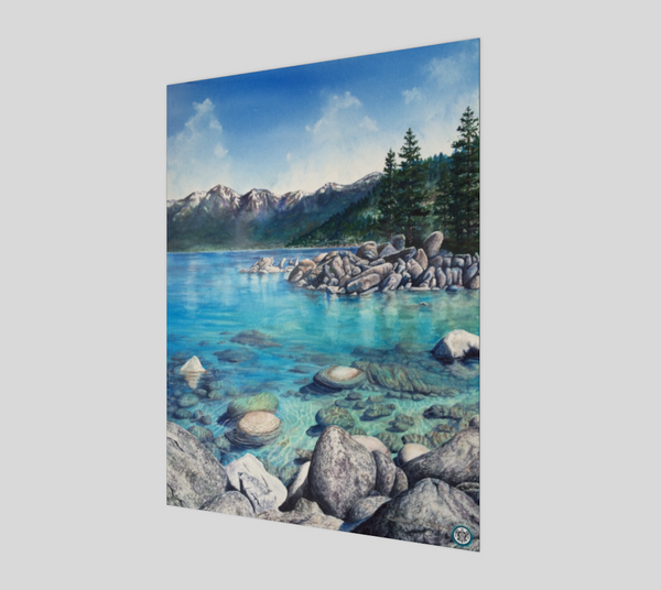 """Clear Awakening"" Fine Art Poster Print, Sand Harbor, Lake Tahoe turquoise water Mountain Nature by Artist Christie Marie Elder-Russell ©"