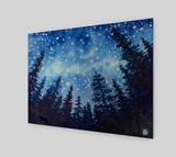"""Sierra Stars ~ Camp"" Fine Art Wood Print, Mountain Camping Night Stars Art by artist © Christie Marie"