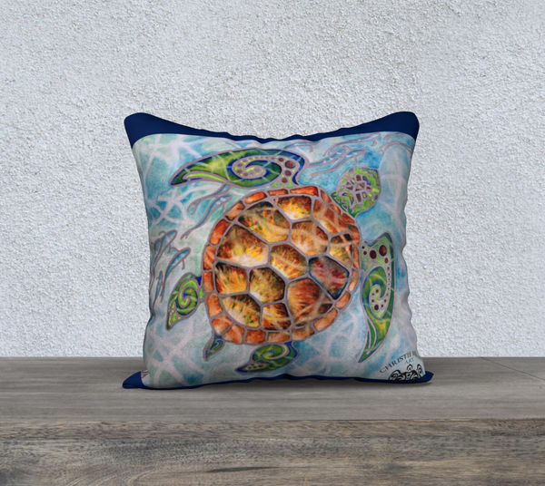 """Honu Island Waters"" Hawaiian Sea Turtle Art printed 18"" Pillow Case by artist Christie Marie ©"