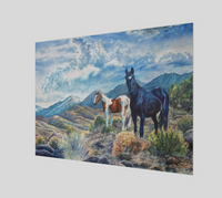"""Mustangs Wild"" Fine Art Poster Print, Wild Mustangs in the Sierra Nevada Mountain Range watercolor art by artist © Christie Marie"