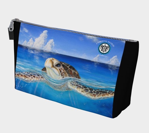 "Zipper Carry Bag, ""Peace of Tropics"" Eco-Friendly Sea Turtle Art Bag by artist Christie Marie E. Russell"