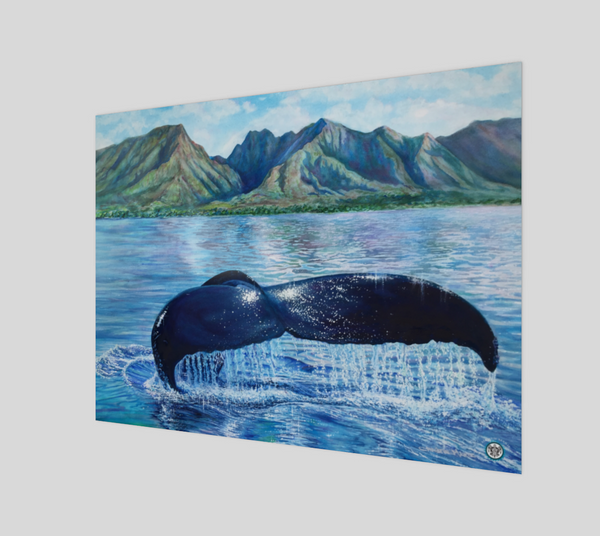 """Sanctuary"" Fine Art Poster Print, Hawaiian Humpback Whale Ocean Art by Artist © Christie Marie"
