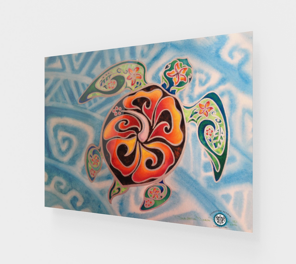 """Nani Honu"" Fine Art Acrylic Print, Tribal Hawaiian / Polynesian Sea Turtle art by artist © Christie Marie"
