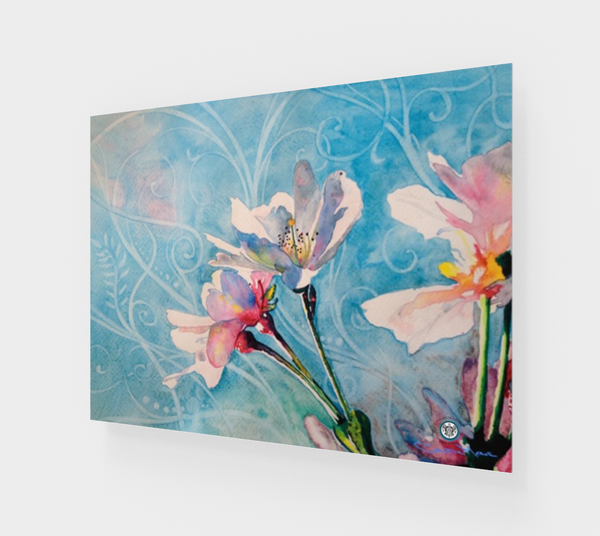 """Spring Air"" Fine Art Acrylic Print, Pink Cherry Blossoms in Blue flowing stylized sky art by artist © Christie Marie"