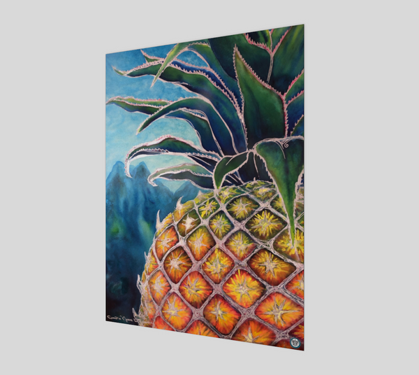 """Big Welcome"" Fine Art Poster Print, Hawaiian Welcome Pineapple, stylized mixed media art by artist © Christie Marie"
