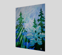 """Snowflake Forest"" Fine Art Poster Print, Stylized Forest First Snow, Snowflake Art by Artist Christie Marie Elder-Russell ©"