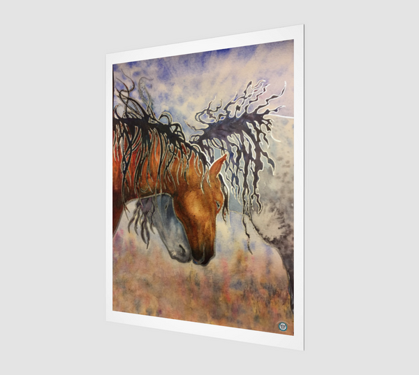 """Hugs"" Archival Fine Art Print, Horse Affection art by artist © Christie Marie"