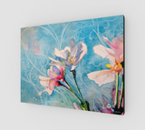 """Spring Air"" Fine Art Canvas Print, Pink Cherry Blossoms in Blue flowing stylized sky art by artist © Christie Marie"