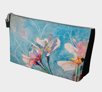 """Spring Air"" Makeup Bag / Clutch, Pink n White Cherry Blossoms by artist © Christie Marie"