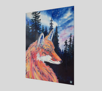 """Spirit Fox""  Fine Art Poster Print, Mountain Pine Forest, Night Stars with Spirit Fox Art by artist © Christie Marie"