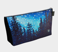 """Star Dust"" Makeup Bag / Clutch, Silhouetted Trees n Night Stars Art by artist © Christie Marie"