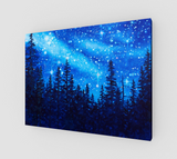 """Chandelier of Stars"" Fine Art Canvas Print, Pine Forest Night Stars by artist © Christie Marie"