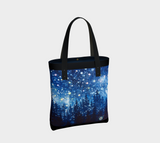 """Grand Galaxy"" Tote Travel Bag, Forest Trees Night Stars Art by artist © Christie Marie"