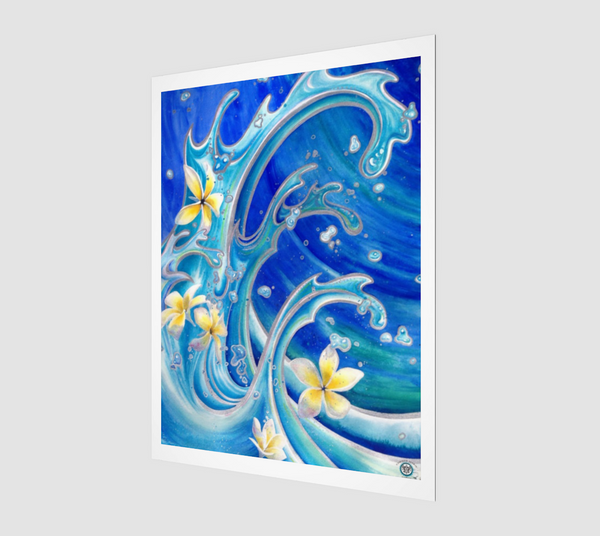 """Blue Hawaii"" Archival Fine Art Print, Tattoo Style Waves with Tropical Plumeria Flowers by artist © Christie Marie"