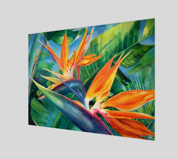 """Tropical Paradise"" Fine Art Poster Print, Hawaiian Bird of Paradise flower art by artist © Christie Marie"