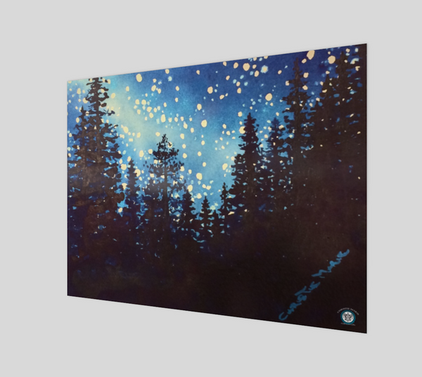 """Star Dust"" Fine Art Poster Print, Silhouetted Mountain Forest Trees and Night Stars Art by artist © Christie Marie"
