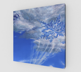 """Spirit Of Inspiration"" (Top Half of Full) Fine Art Canvas Print, Snowy Natures' Living Spirit Forest, Stylized Snowflake Art by Artist Christie Marie Elder-Russell ©"