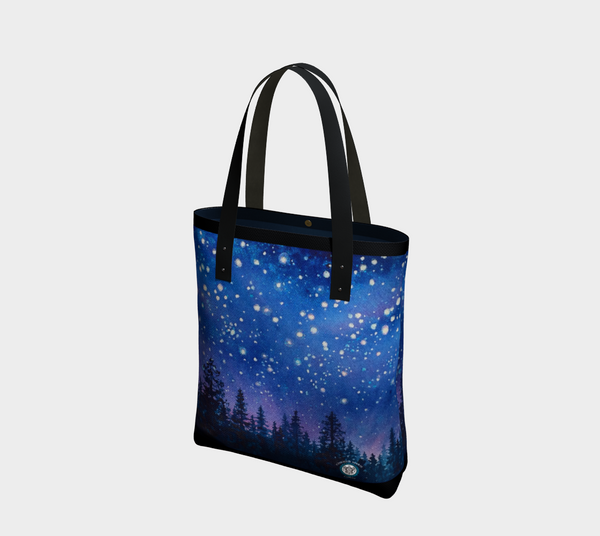 """Sierra Stars ~ Pink"" Tote Travel Bag, Starry Night Forest art by artist © Christie Marie"