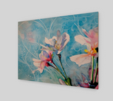 """Spring Air"" Fine Art Wood Print, Pink Cherry Blossoms in Blue flowing stylized sky art by artist © Christie Marie"