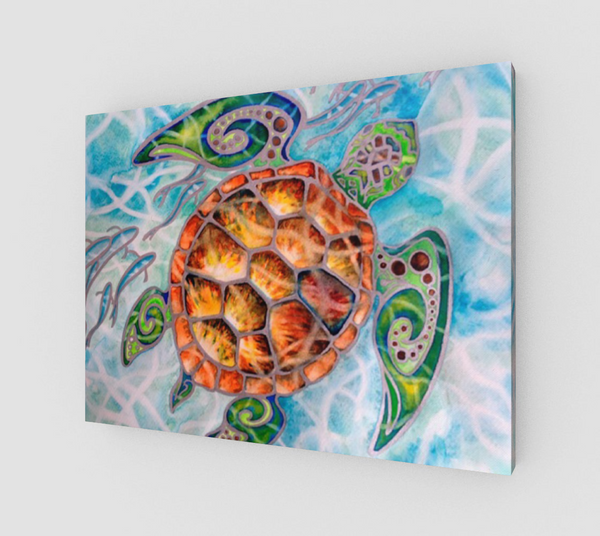 """Honu Island Waters"" Fine Art Canvas Print, Tribal Style Sea Turtle with fish and turquoise water, art by artist Christie Marie ©"