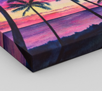 """Pink Palms"" Fine Art Canvas Print, Pink Hawaiian sunset with palm trees and ocean, art by artist © Christie Marie"