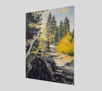 """Tahoe Trail"" Fine Art Poster Print, Lake Tahoe Fall leaves and Mountain Trail Art by Artist Christie Marie Elder-Russell ©"