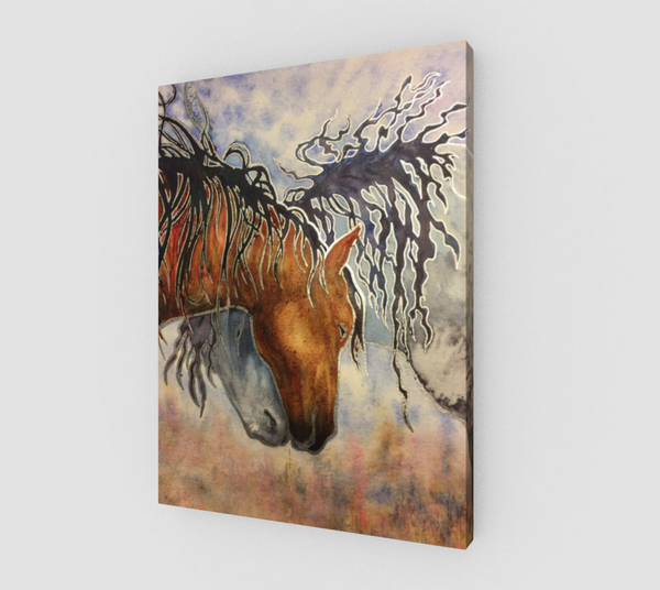 """Hugs"" Fine Art Canvas Print, Horse Affection art by artist © Christie Marie"